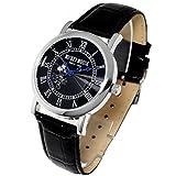 ディズニー 腕時計 Disney 腕時計 ノーブル ミッキー 腕時計 黒ベルト 黒文字 本牛革 クロコ型押しベルト スワロフスキー ライセンス商品 黒 [並行輸入品]