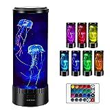 Iriisy Acuario Artificial de Medusas Alegre Luz, Lamparita de Mesita de Noche USB, Redondo Medusas Lámpara de Escritorio con 16 Ajustes de Color con Control Remoto