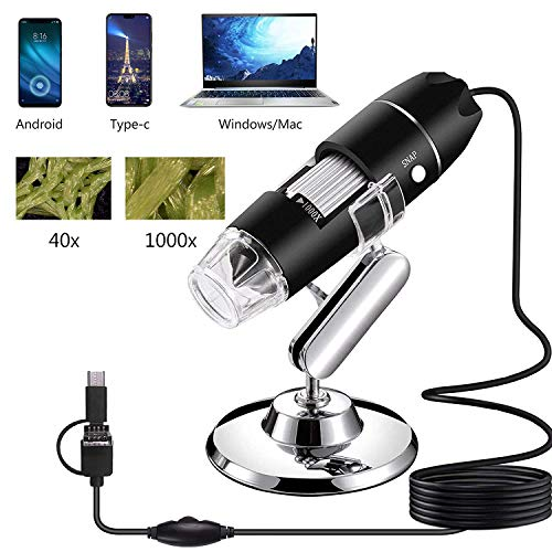AOLOX USB Microscope, 1000x Handheld Digital Microscope Camera with 8 LED Light and Stand Hobby Tools for Kids, Students, Adults, Compatible with Mac/Window 7/Android