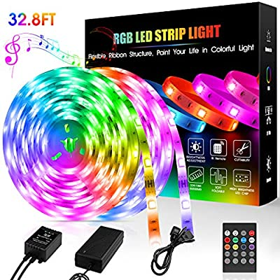 LED Strip Lights,32.8 ft Flexible Light Strip SMD 5050 RGB with 20 Keys Remote Sync to Music,Color Changing LED Lights for Room,Bedroom,TV,Home Party and DIY Decoration
