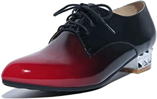 Women's Two Tone Oxford Shoes Plaid Leather Lace Up Low Heel Pointed Toe Dress Oxfords Loafer Shoe