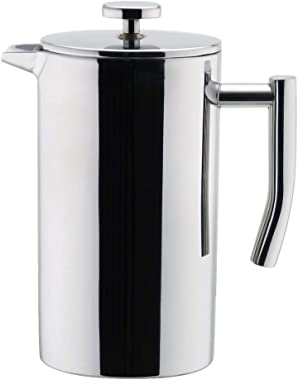 MIRA 12 oz Stainless Steel French Press Coffee Maker | Double Walled Insulated Coffee & Tea Brewer Pot & Maker | Keeps Brewed