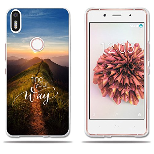 fubaoda BQ Aquaris X5 Plus Hülle, [Peak Road] Silikon TPU 3D zeitgenössischen Chic Design Minimalist Ultra Thin Lightest Fashion Kreativ Slim Fit Shockproof Flexible Beschützer für BQ Aquaris X5 Plus