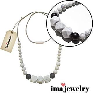 ima-jewelry BPA Free Silicone Teething Necklace for Mom to Wear | Baby Proof Necklaces for Moms - Safe for Baby | Black & White