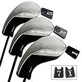 Andux 3 Packung golf holz Schlägerkopfhüllen Eisen hauben austauschbar Nr. Etikett MT/mg03 schwarz...