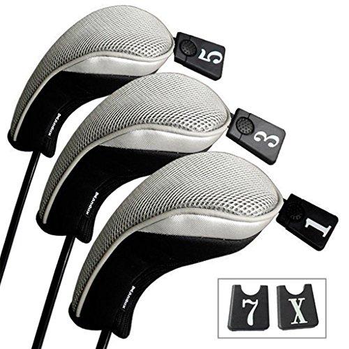 Andux 3 Packung Golf Holz Schlägerkopfhüllen Eisen hauben austauschbar Nr. Etikett MT/mg03 schwarz/grau MEHRWEG