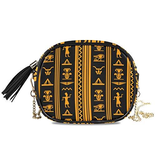 QMIN Umhängetasche mit antikem ägyptischem Muster, kleine Handtasche, PU-Leder, Schultertasche, Organizer mit Kettenriemen, Quasten für Frauen und Mädchen