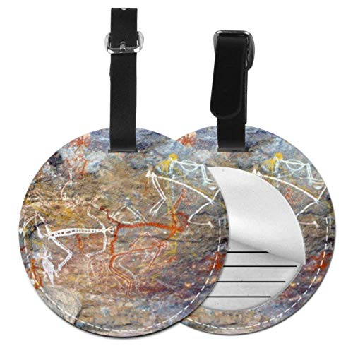 TravelBaggageLuggageTag Aboriginal Painting Rock Painting Australia Outback PersonalizedLuggageTags LuggageTagsPersonalize with Adjustable Black Strap for Bags & Baggage with Privacy Protectio