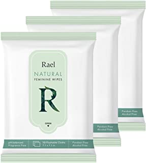 Rael Feminine Wet Wipes with Natural Ingredients - Flushable, Travel Size, All Skin Use, Eco-Friendly, Paraben Free, Natural Pulp, pH-Balanced, Daily use, Gentle&Safe for Women Intimate (3Pack)