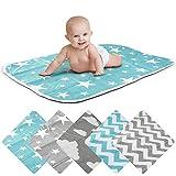 Wickelunterlage Baby Wickelauflage Baby Wickel-Decke Unterlage für Säuglinge und Kleinkinder; atmungsaktiv, waschbar, wiederverwendbar; 50 x 70 cm (Stern-Blau)
