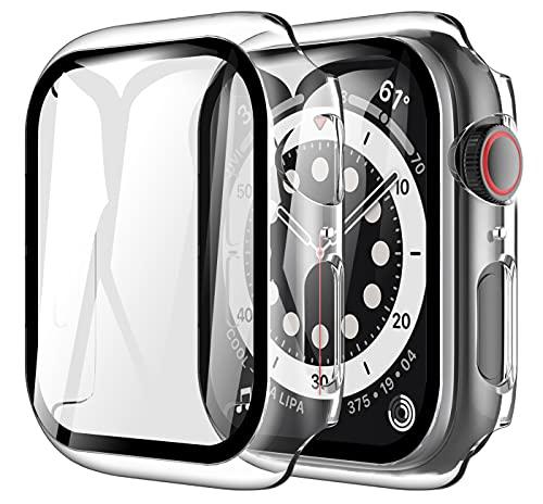 LK Compatible avec Apple Watch Series 6 SE 44mm Protection écran, 2 Pièces,Verre Trempé et PC Coque, Protection Écran de Coque,LK-X-103