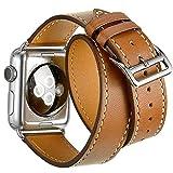Cuir Double Tour Sangle de Bande de Remplacement Bracelet Montre Intelligente Compatible avec Apple Montre Série 4, Apple Watch Série 3/2/1