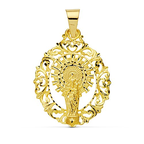 Medalla calada Virgen del Pilar 18 Ktes 39mm