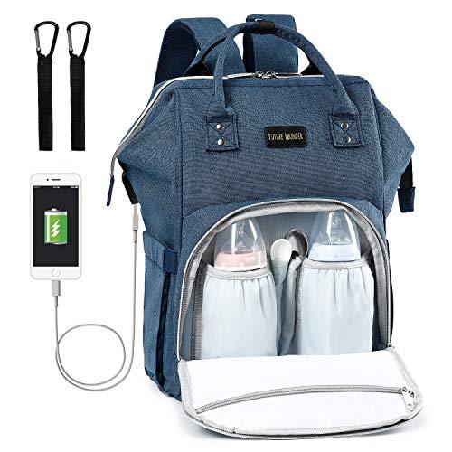 Baby Wickelrucksack Wickeltasche Multifunktional mit USB-Lade Port Oxford Wasserdichte Große Kapazität Babytasche für Reise,Dunkelblau