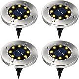 WBias&Belief 4 Piezas Luces de Tierra Solares 8 LED IP65 Impermeable Luces Solares Jardin para Césped Escalón Camino,White Light