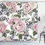 ABAKUHAUS Rose Duschvorhang, Blühendes Rosa Flora, Waserdichter Stoff mit 12 Haken Set Dekorativer Farbfest Bakterie Resistet, 175 x 240 cm, Hellrosa grün Bluegrey