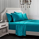 AiMay 6 Piece Satin Bedding Sheet Pillowcase Sets Deep Pocket Luxury Rich Silk Silky Super Soft Solid Color Reversible Sexy Honeymoon Stain-Resistant Wrinkle Free (King, Teal)