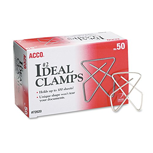 ACCO 72620 Ideal Butterfly Clamps,Small.062 Wire Gauge,50/Box,Silver