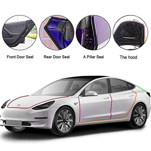 Türdichtungssatz aus Gummi für Autos, passend für Tesla Model 3 Autotüren, Türkantenschutz, selbstklebende Autodichtungsstreifen, Türdichtungssatz,Selbstklebende Auto Gummi Dichtungsstreifen, 8er-Pack