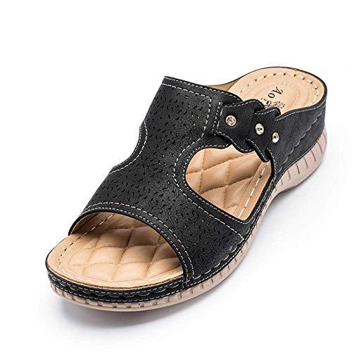 CCJW Zapatos for Caminar Flatforms Abiertas del Dedo del pie, Sandalias de Playa Retro, talón de la Cuesta Hueco Zapatillas-Black_41, resbalón en Sandalias Planas Comfort kshu