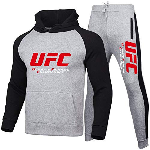 XUCHONG Tuta Sportiva da Uomo UFC Ouma Fighting Letter Printed Sweater + Sports Pants Sports Casual Set(Size:Large,Color:E)