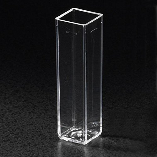 Globe Scientific 111137 Polystyrene Square Spectrophotometer Cuvette, 4 Clear Sides, 4.5mL Capacity (Case of 500)