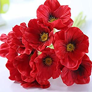 10PCS Red Poppies Artificial Flowers with Real Look/PU Real Touch Artificial Poppy Flowers for Indoor Outdoor Wedding Home