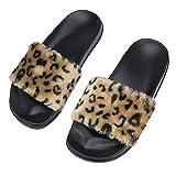 U/A Femmes LéOpard Pantoufle Dames LéOpard Moelleux Fausse Fourrure Plat Pantoufle Flip Flop Sandale en Peluche IntéRieur Chaud Coton Chaussures