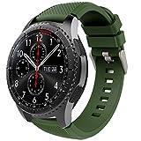 TiMOVO Pulsera para Samsung Gear S3 Frontier/Galaxy Watch 46mm, Pulsera de Silicona, Correa de Reloj Deportivo, Banda de Reloj de Silicona - Ejercito Verde