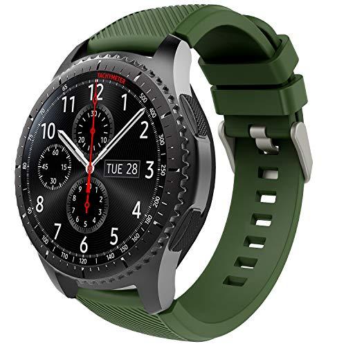 TiMOVO Correa de Reloj Compatible con Samsung Gear S3 Frontier/Galaxy Watch 3 45mm, Banda de Silicona Compatible con Huawei Watch GT2 Pro/GT 2e/GT 46mm/GT2 46mm/Ticwatch Pro 3 - Ejercito Verde