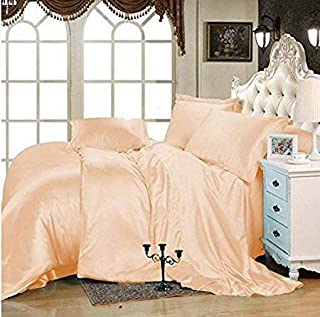 "Luxury Sunrizer Beddings Satin Sheet Set Queen 4 Piece with 15"" deep Pocket Peach"