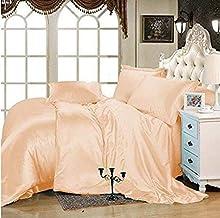 "Luxury Sunrizer Beddings Satin Sheet Set Queen 4 Piece with 15"" deep Pocket Peach"