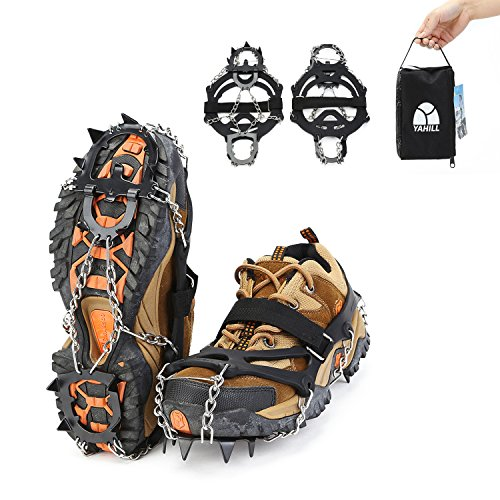 YAHILL Ice Traction Cleats Crampons Snow Spikes Grips with 13 Teeth Manganese Steel for Boots Shoes Women Men Kids for Hiking Walking Winter Jogging or Climbing