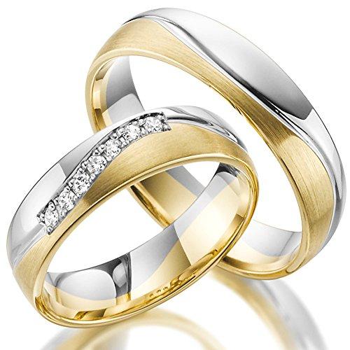2 x 585 Trauringe Gold Bicolor Weißgold Eheringe Massiv Paarpreis LM.10 Weißgold Trauringe Paarpreis vom Juwelier Echtes Gold Verlobunsringe Wedding Rings Trouwringen (14 Karat (585) Bicolor)