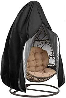 Patio Hanging Egg Chair Cover, Waterproof Garden Swing Chair Cover with Zipper, Heavy Duty Oxford Fabric Outdoor Cocoon-Ch...