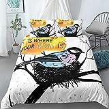 Home Textile Cartoon Bird Nest Bedding Set Duvet Cover Pillowcase Printed 135x200cm