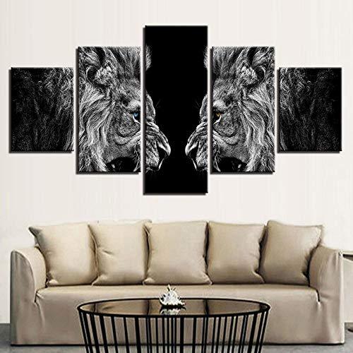 Tacbz Decoraties voor huis afdrukken Hd Poster op canvas 5 stuks leeuwen op spiegel afbeeldingen dieren foto's voor de woonkamer 200 x 100 cm schilderij op canvas poster muur Multi Mo