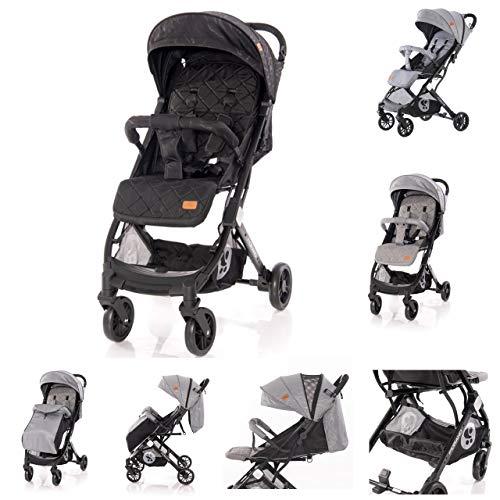 Lorelli Kinderwagen Fiorano faltbar, Ablagekorb, Frontbügel abnehmbar, Bremse, Farbe:schwarz grau
