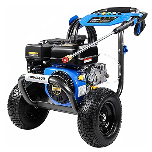 """OT QOMOTOP Gas Pressure Washer, 3400 PSI at 2.6 GPM, 5 Kinds of Nozzles, Two 12"""" Large Wheels, 3.6L Gasoline Tank, Easy Move and Store, for Cleaning Walls, Terraces, Vehicles, Workshops, Gardens, etc"""