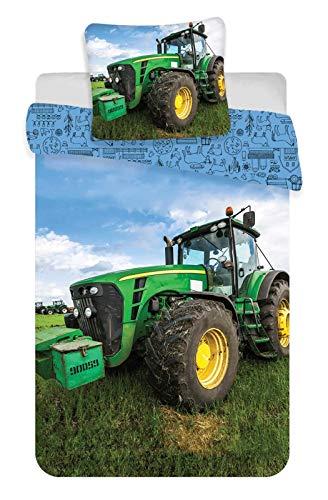Traktor Baby-Bettwäsche-Set 2-teilig 100% Baumwolle Bettbezug 100x135cm Kissenbezug 40x60cm Klein-Kinderbettwäsche