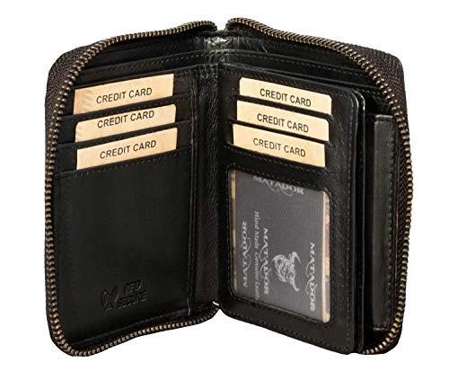 MATADOR® Granada Leder Geldbörse Herren mit Reißverschluss Schwarz TüV geprüfter RFID & NFC Schutz Blocker Portemonnaie Damen Geschenk-Box