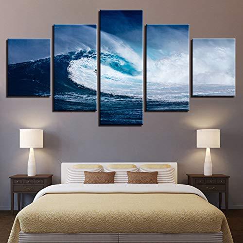 ZYQXI 5 Piezas Cuadro Lienzo Impresiones en Lienzo HD Carteles Decoración para el hogar Sala de Estar Arte de la Pared Imágenes 5 Piezas Azul Mar Olas Surf Paisaje Marino Pinturas sin Marco
