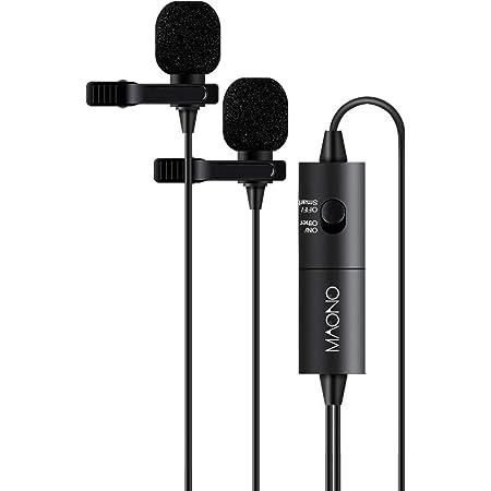 MAONO ミニクリップマイク ピンマイク コンデンサーマイク 二人用可能 全指向性 高性能 デジタル一眼レフカメラ/ビデオカメラ/オーディオレコーダー/PC/スマホなど用(iPhone/iPad/Android)3.5mm/6.35mm対応ミニプラグ (AU-200)