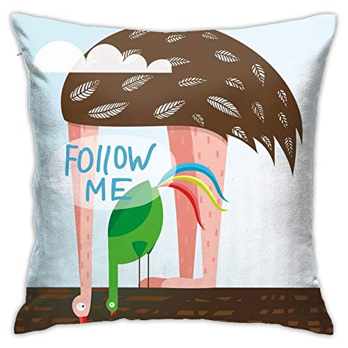DHNKW Throw Pillow Case Cushion Cover,Ostrich and Rooster Eating On Roof Birds with Long Necks and Follow Me Label ,18x18 Inches