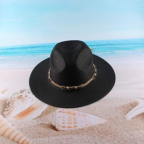 JINRONG Playa Sombrero De Paja De Verano De Mujeres Fuera De La Cortina De Sun De ala Ancha Sombrero For El Sol (Color : Black, Size : Adjustable)