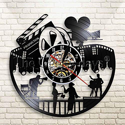 Lianaic Reloj de Pared Reloj de Pared de Vinilo de Cine, diseño Moderno, Director de Noche de película, gramófono, Pegatinas 3D, Reloj de Pared de Vinilo, decoración del hogar