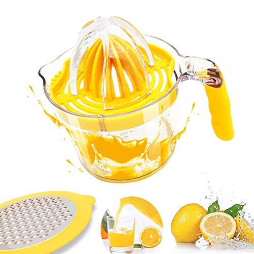 Citrus Juicer, Lemon Orange Juicer Manual Hand Squeezer Built-in Measuring Cup, Anti-Slip Silicone Handle And Egg Separator 20OZ