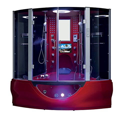 2020 Valencia Computerized Steam Shower Sauna with Jetted Whirlpool Massage Bathtub Spa with Telephone & TV (Red)