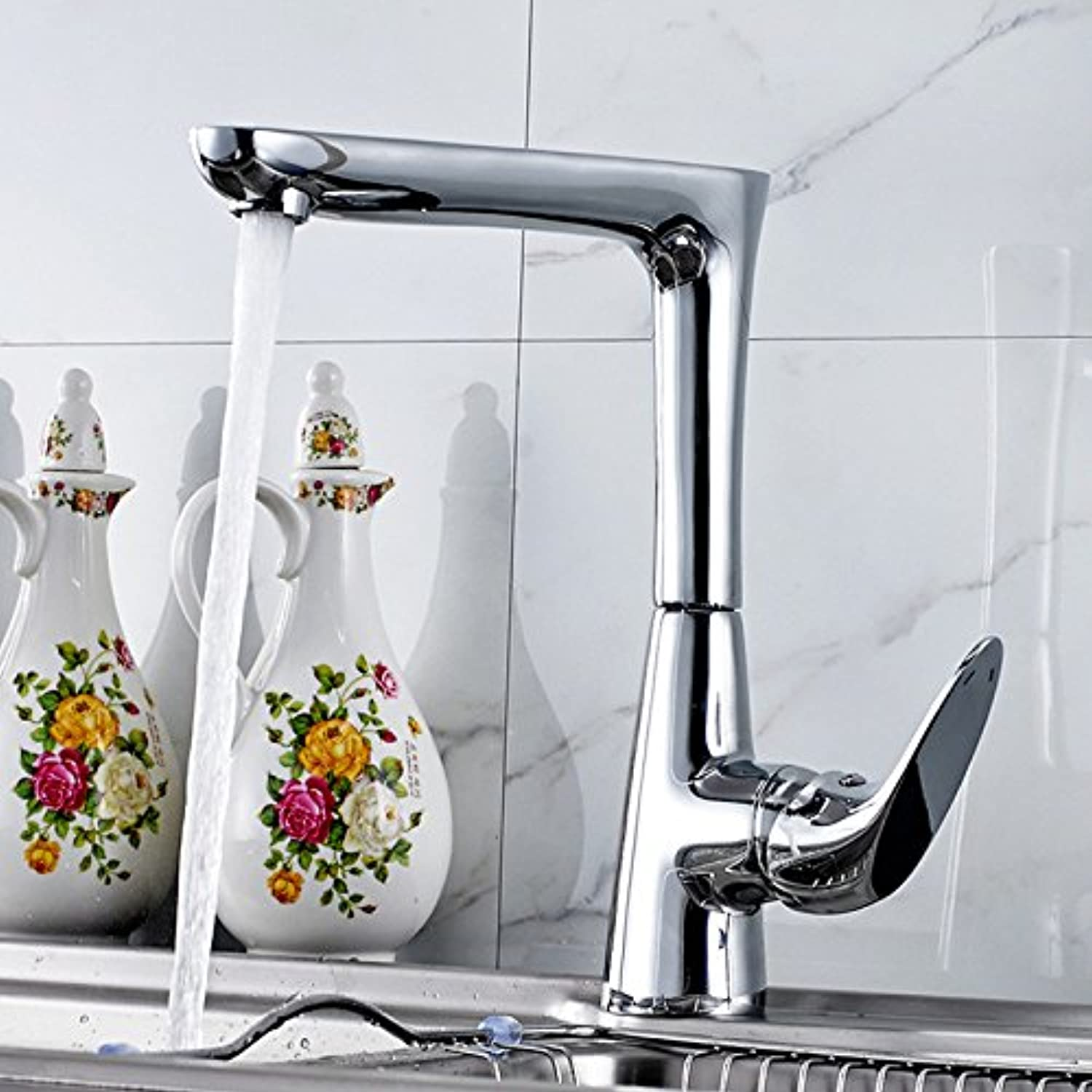 Commercial Single Lever Pull Down Kitchen Sink Faucet Brass Constructed Sink Faucet Kitchen Full Copper Plating Chrome Kitchen Sink Faucet Hot and Cold Water Mixing redating Modern Mixing Faucet