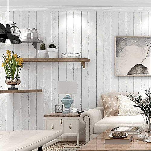 Distressed Wood Plank Wallpaper, Off White Rustic Wood Panel Wallpaper Roll 20.8 inch x 32.8 feet (Non-Adhesive), 1 Roll Pack
